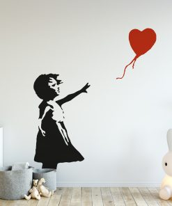 banksy girl balloon wall sticker