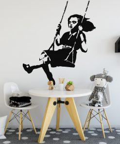 Banksy Girl Swing Wall Sticker