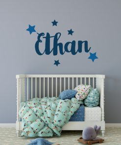 personalised name and stars wall sticker