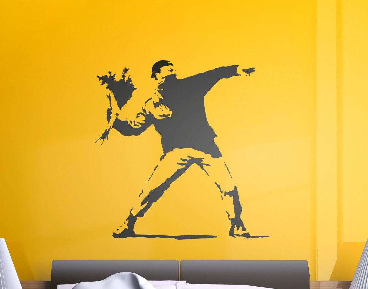 Banksy Man Throwing Flowers Wall Sticker | Popular Banksy Wall Stickers