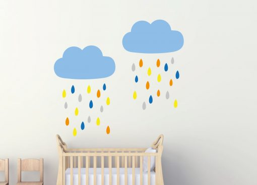 Colourful Clouds and Rain Wall Stickers