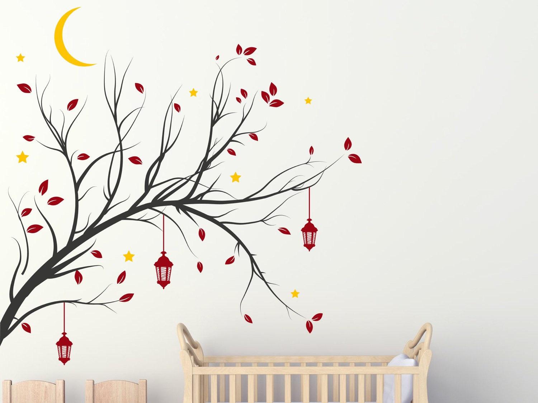 Tree branch with hanging lanterns
