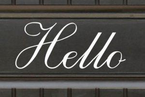 script hello door sticker