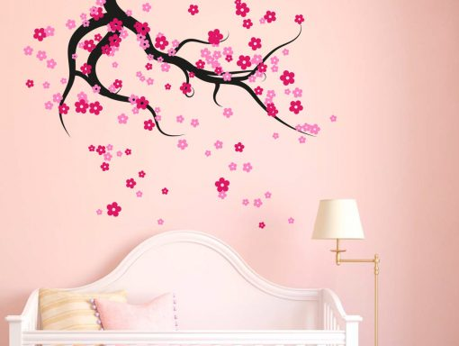 ceiling tree branch with falling blossoms