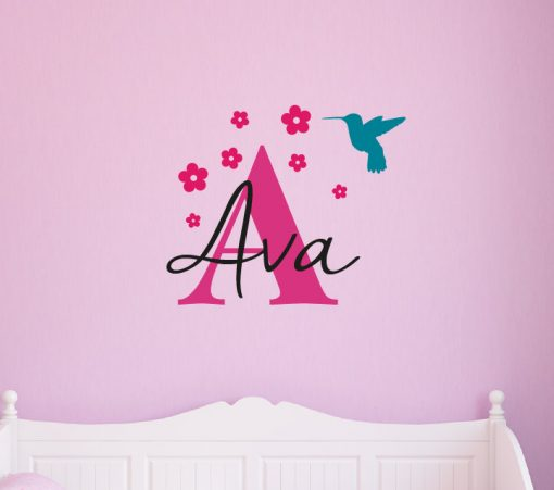 Girls Name With Hummingbird Wall Sticker