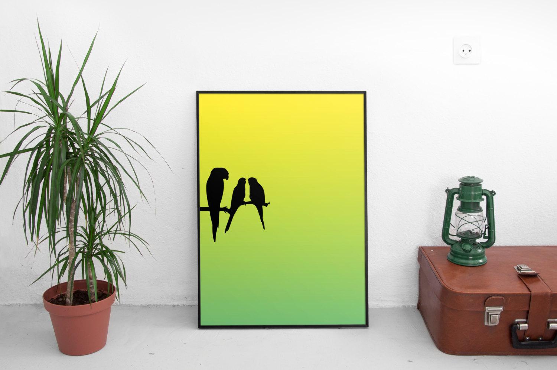 Bright Parrot Silhouette Wall Art - Tropical Wall Art - Bird Wall ...
