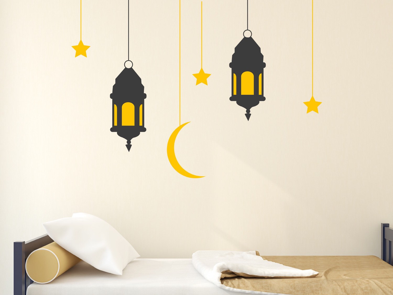 Hanging Lanterns With Stars And Moon Wall Sticker Stunning Wall Stickers