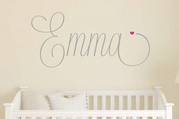 Script Name with Heart Wall Sticker