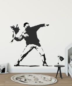Banksy Man Throwing Flowers Wall Sticker