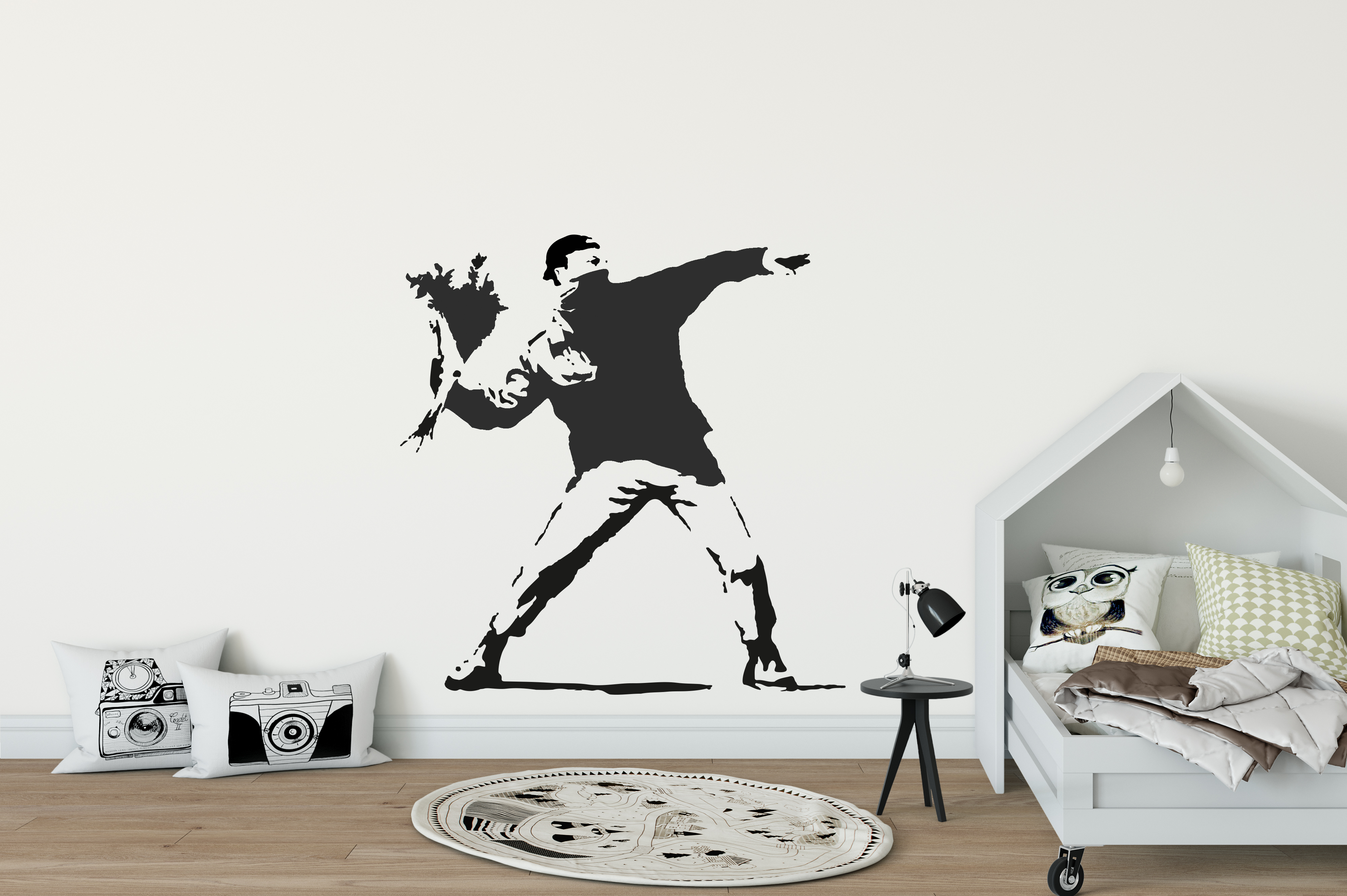 Charming Banksy Man Throwing Flowers Wall Sticker