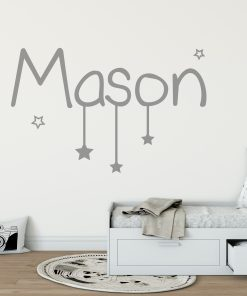 name with hanging stars wall sticker