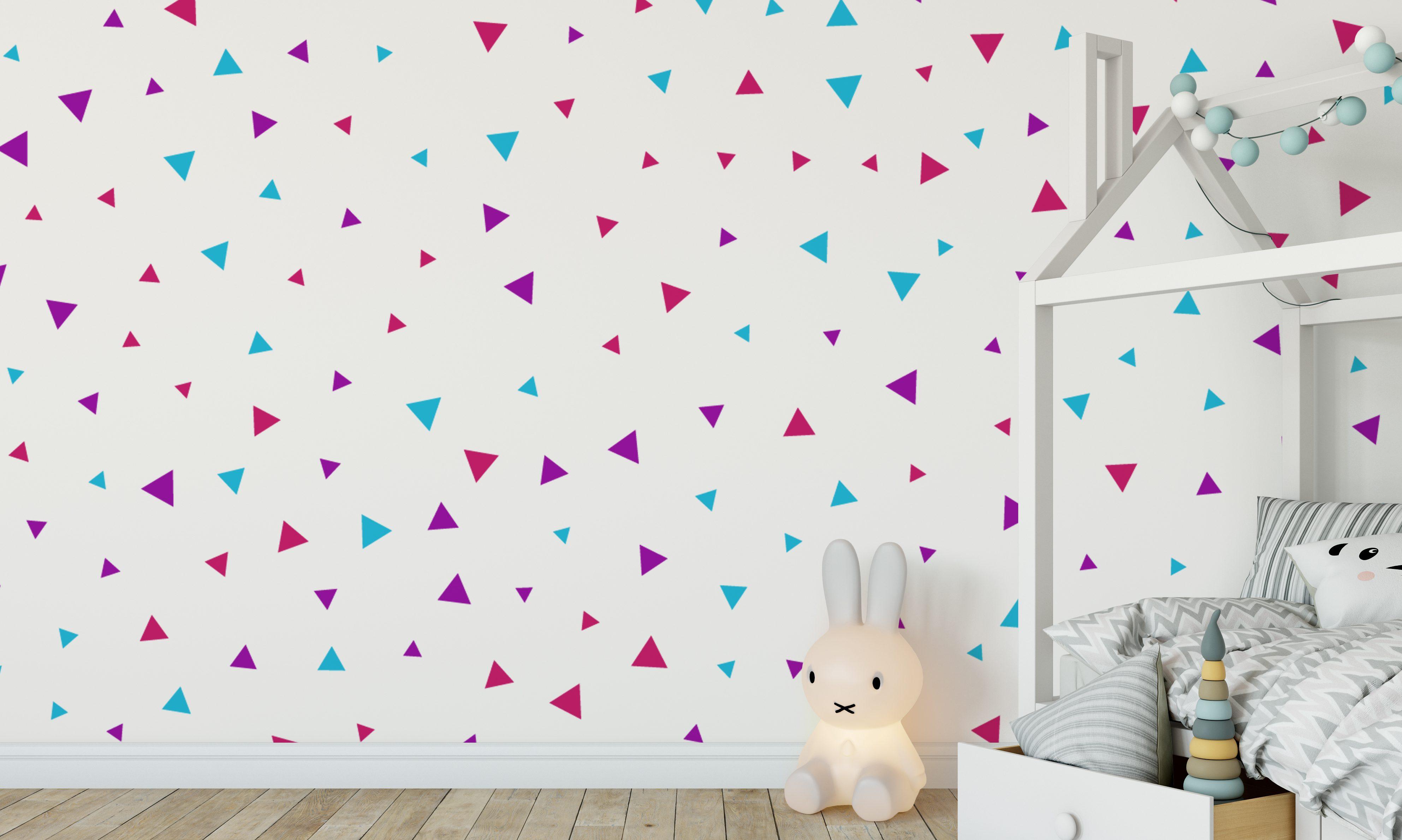 Triangle wall stickers trendy nursery ideas colourful wall triangle wall stickers amipublicfo Gallery