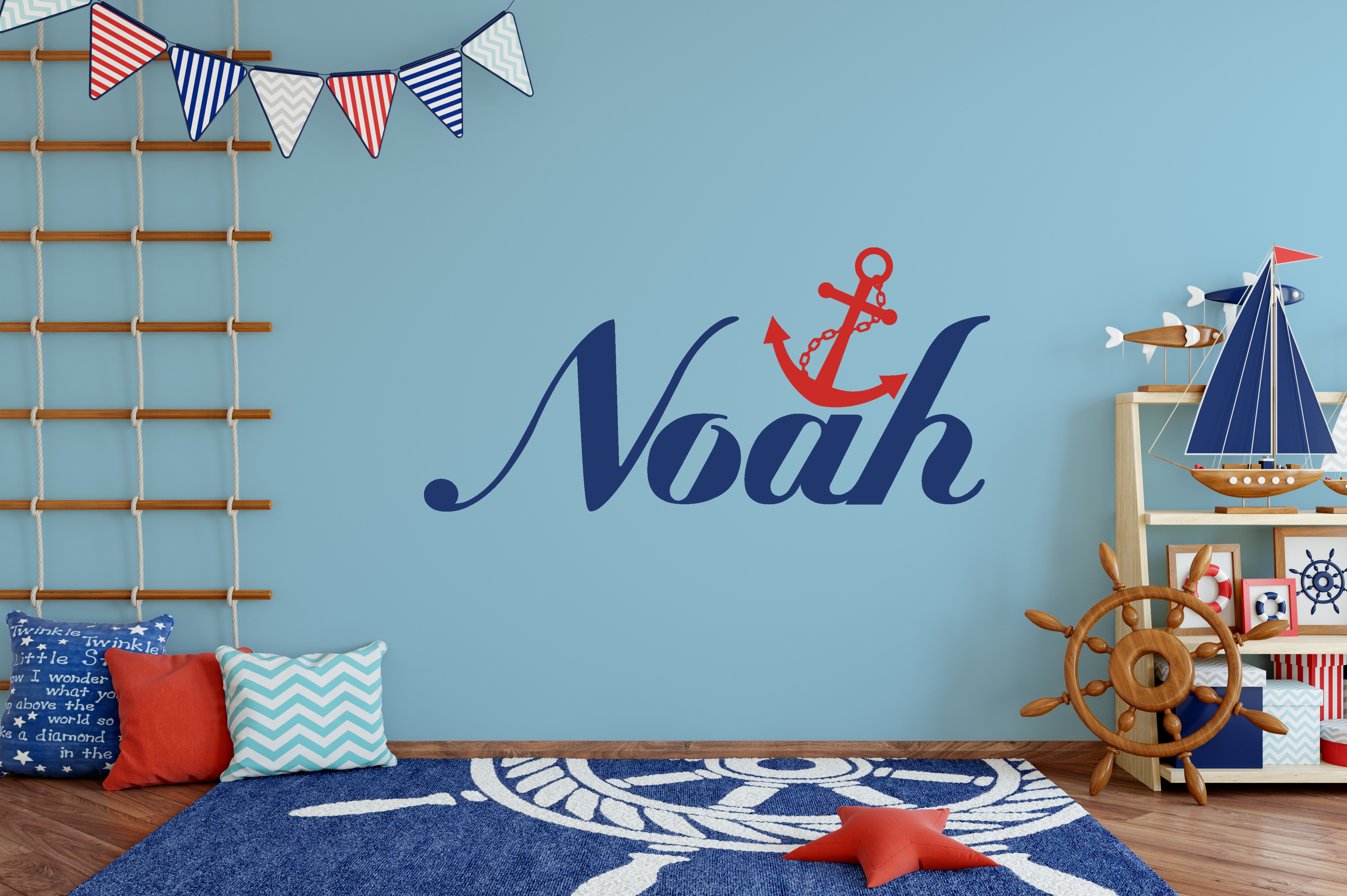 Boys Name Anchor Wall Sticker Nautical Wall Stickers Name Wall