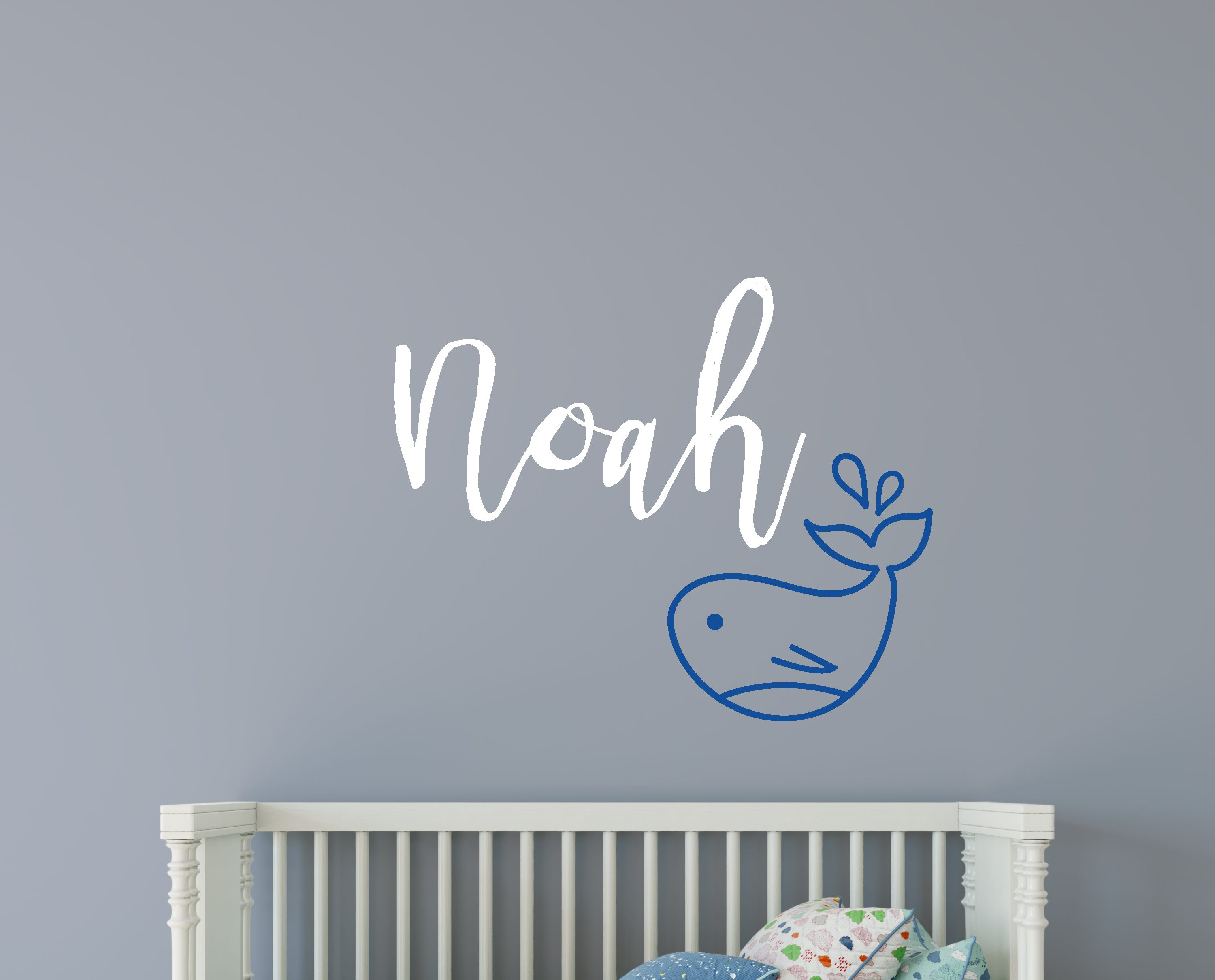 Childrens name whale wall sticker childrens nautical wall stickers childrens name whale wall sticker amipublicfo Gallery