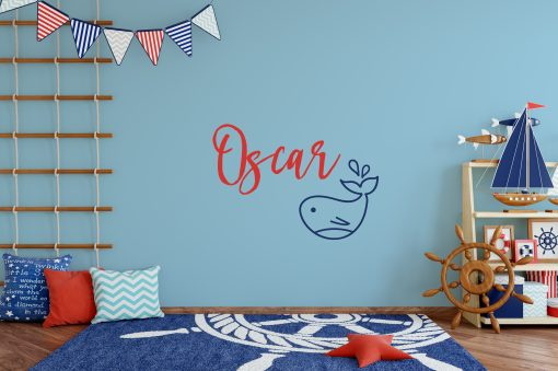Children's Name Whale Wall Sticker
