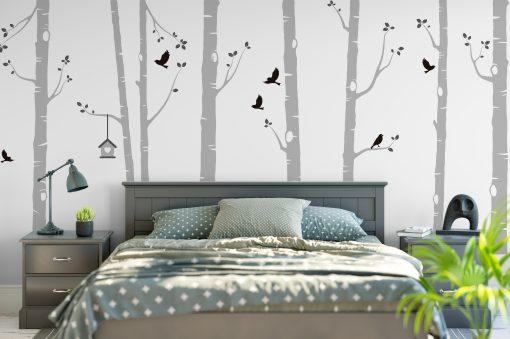 Birch Tree Wall Stickers In Grey