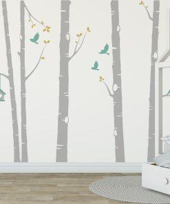 Birch Tree Wall Sticker In Grey