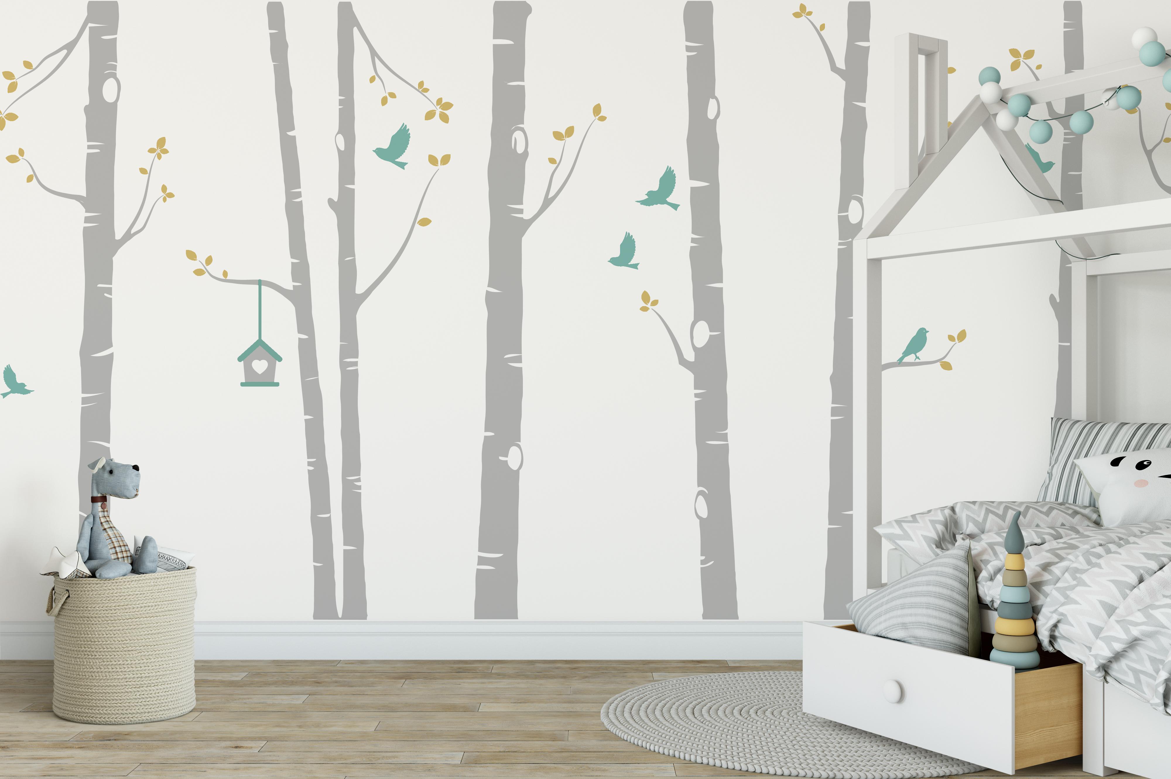Awesome Birch Tree Wall Sticker In Grey