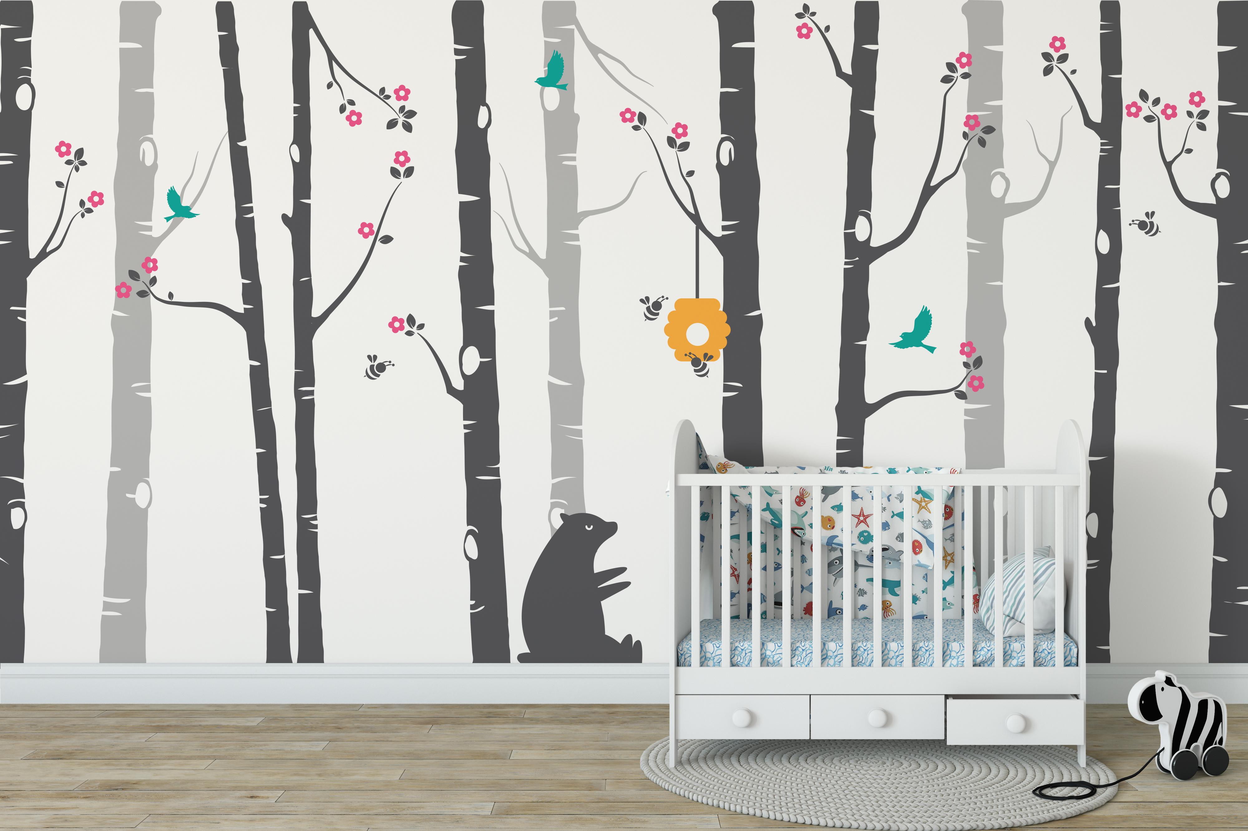 Bears and Bees with Custom Name Wall Decor Branch Nursery Wall Decal