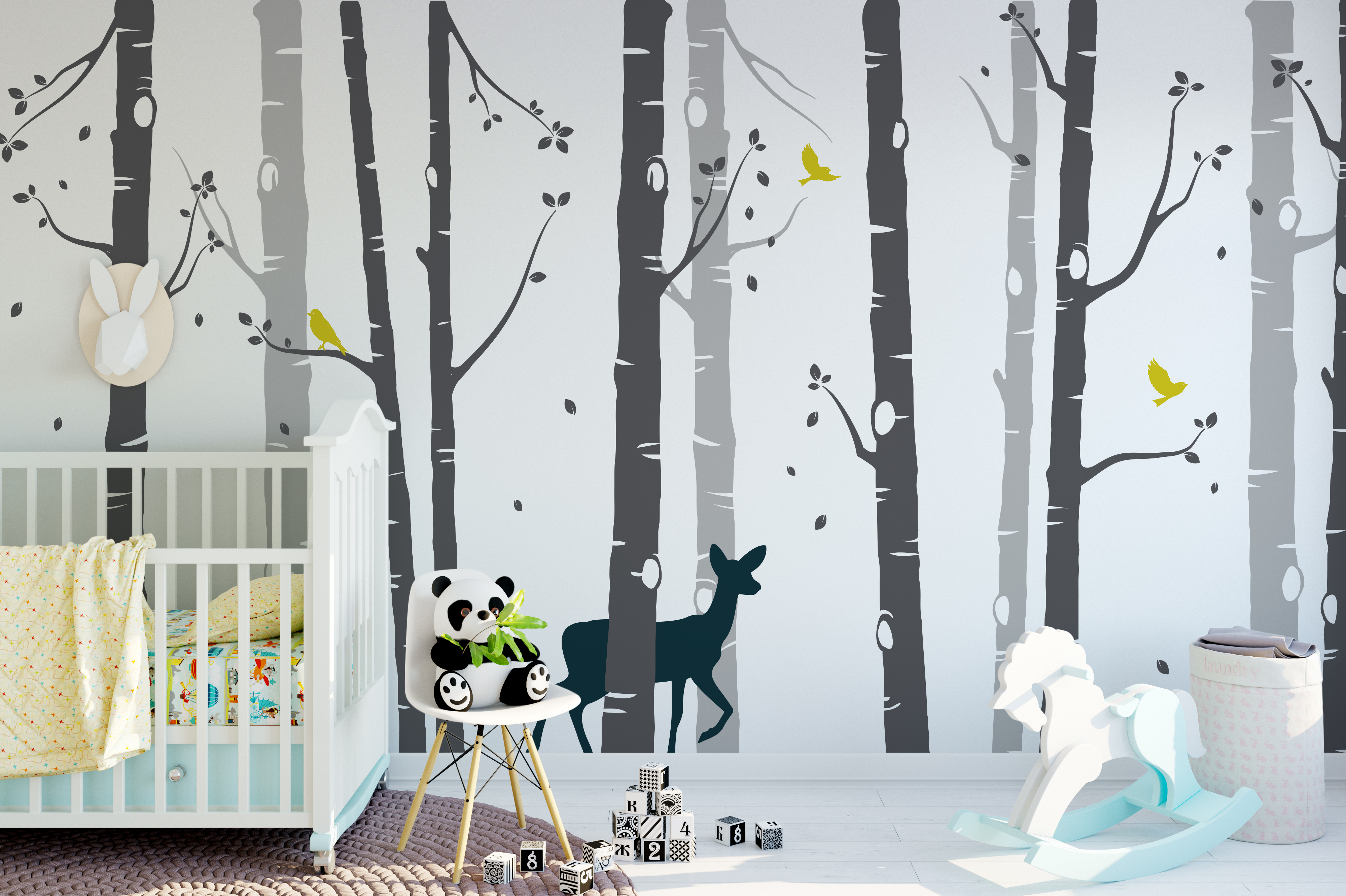 Large set birch tree with deer wall sticker grey tree wall sticker grey tree wall sticker amipublicfo Choice Image