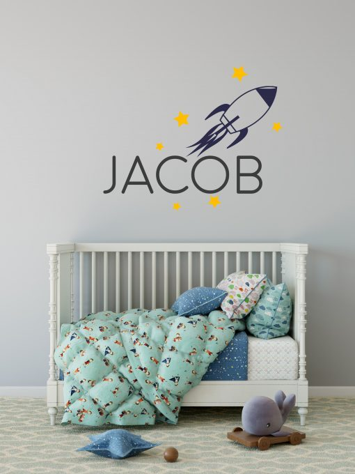 boys name rocket wall sticker